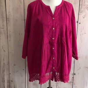 Catherine's Button Down Lace Trim Shirt NEW